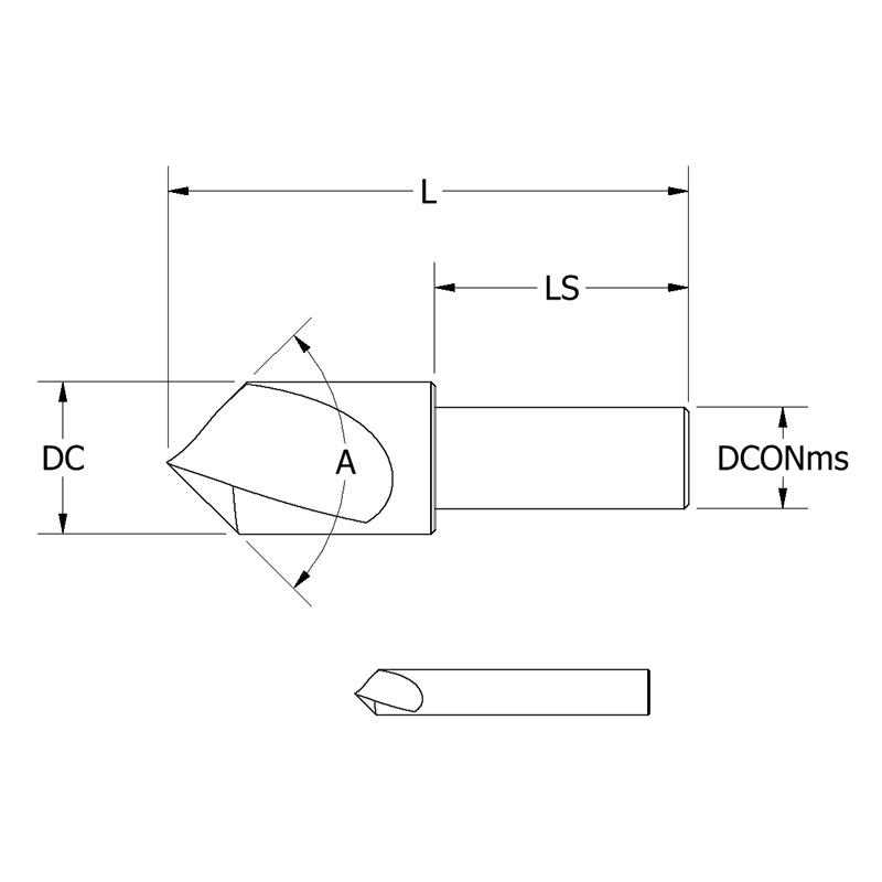 3//8 Body Diameter 110 Degree Cutting Angle High Speed Steel KEO 53381-01 Single Flute Countersink